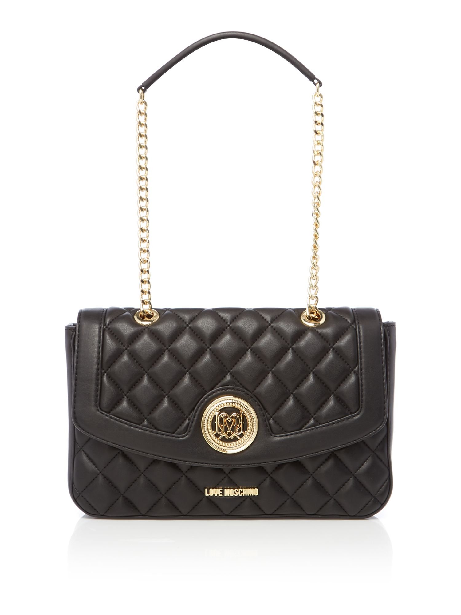 love moschino superquilt black flapover shoulder bag in black lyst. Black Bedroom Furniture Sets. Home Design Ideas