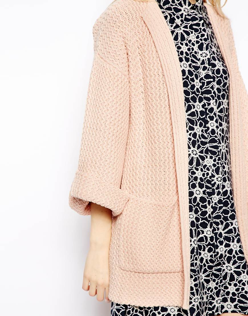 Asos Kimono Sleeve Cardigan in Natural   Lyst