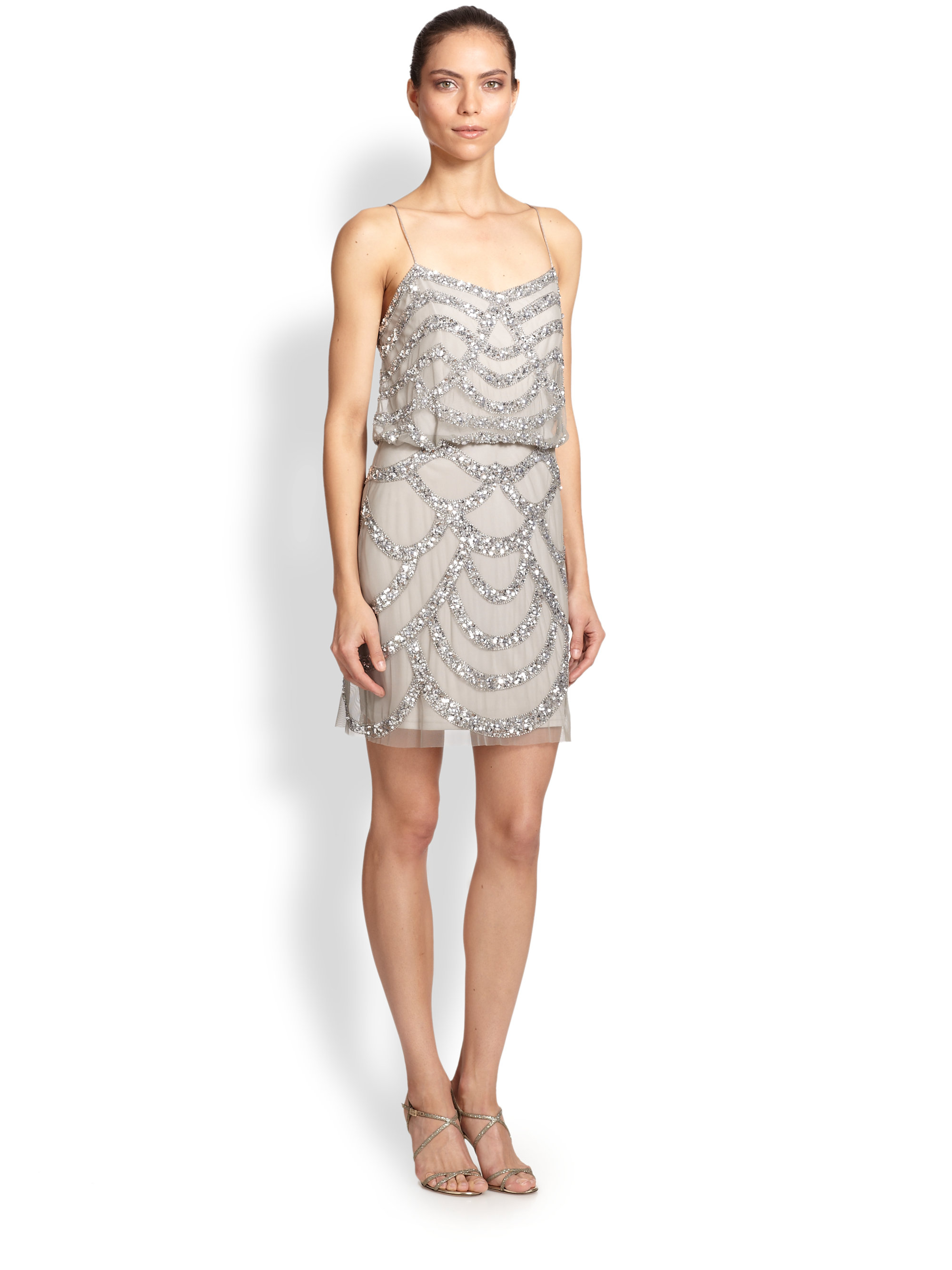 Aidan mattox Sequined Blouson Dress in Metallic | Lyst