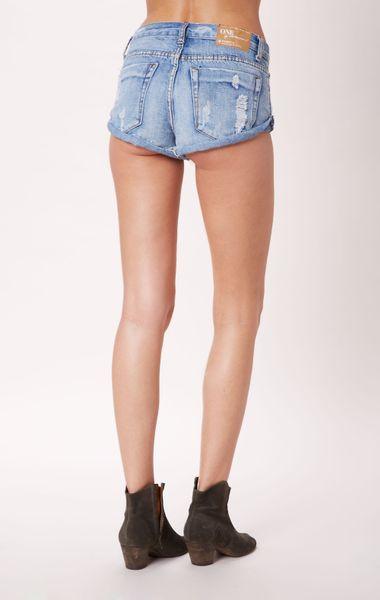 one teaspoon bandits jean shorts in blue hendrix lyst. Black Bedroom Furniture Sets. Home Design Ideas