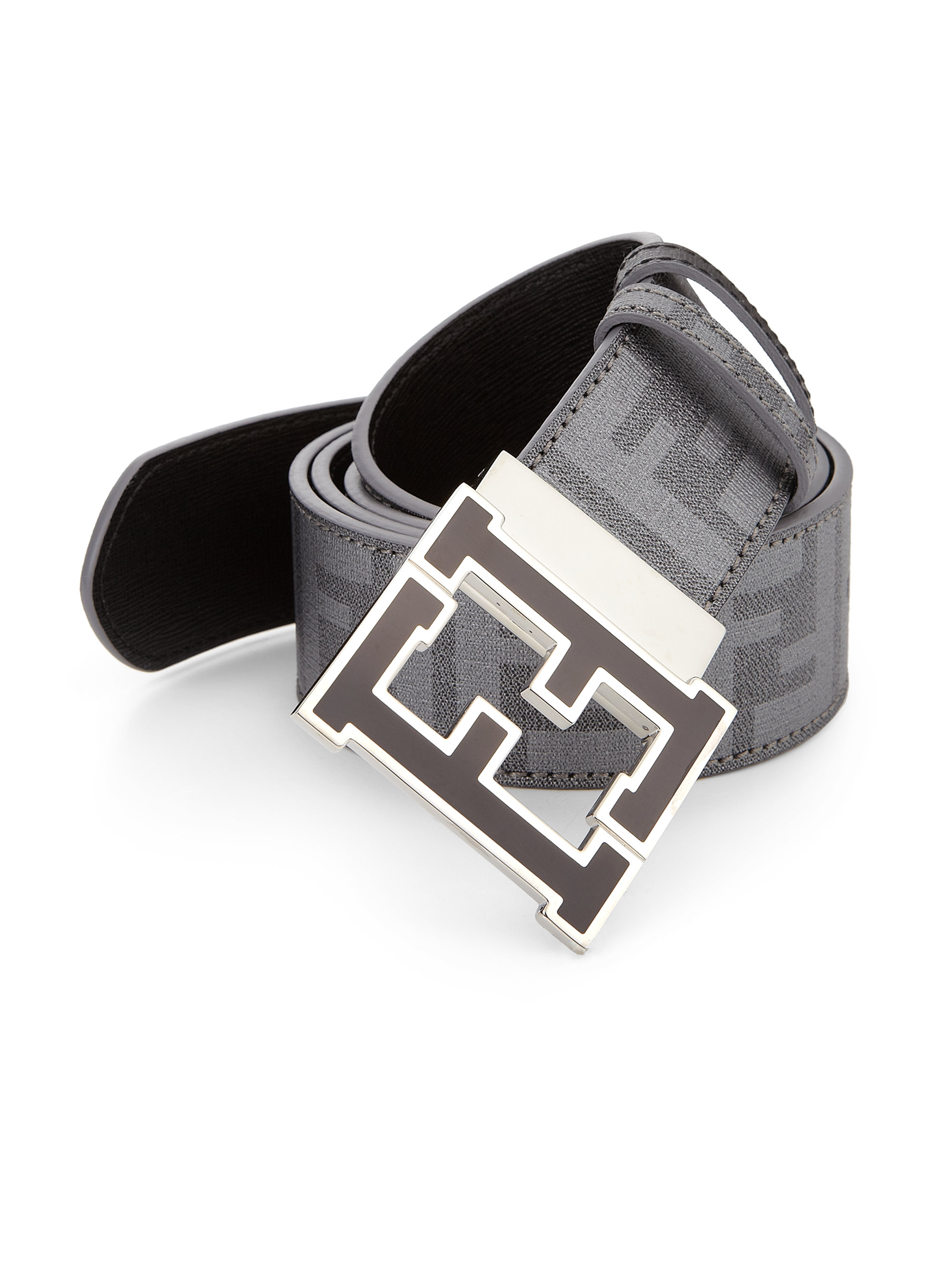 lyst fendi logo reversible belt in black for men