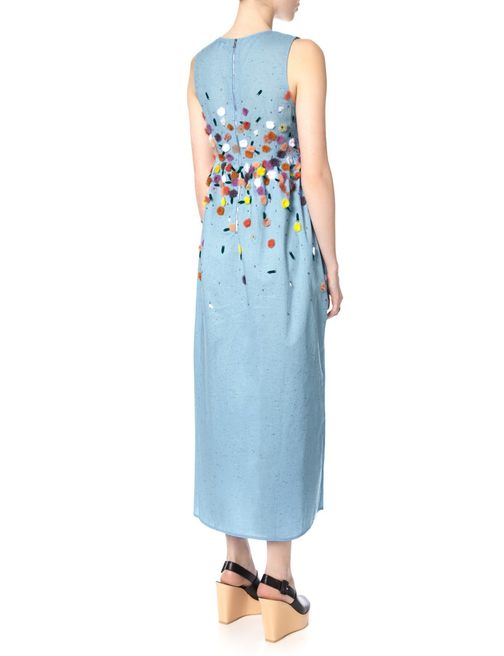 Suno blue chambray embroidered dress in lyst