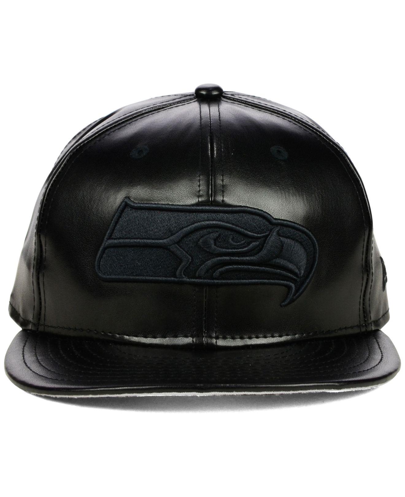 Lyst - KTZ Seattle Seahawks Faux-Leather Black On Black 9Fifty ... a8524338570