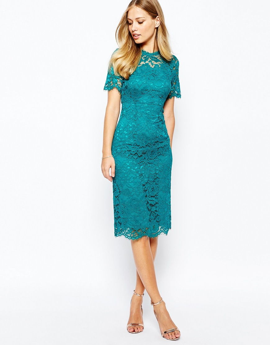 Lyst Coast Cassia Shift Dress In All Over Lace In Green