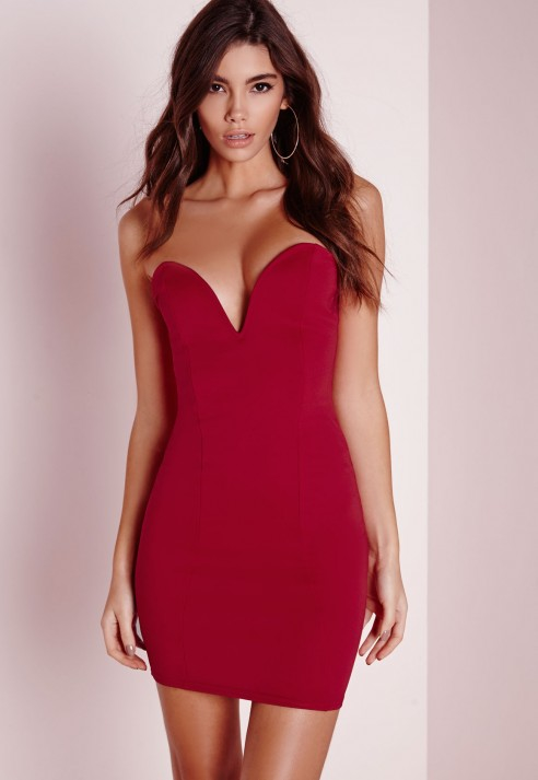 83ba901687 Missguided Bandeau Bodycon Dress Red in Red - Lyst