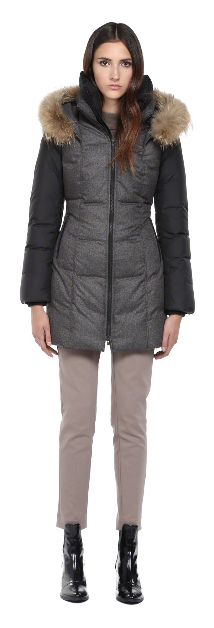 Soia & kyo Emilie Grey Down Coat With Fur Hood in Gray | Lyst