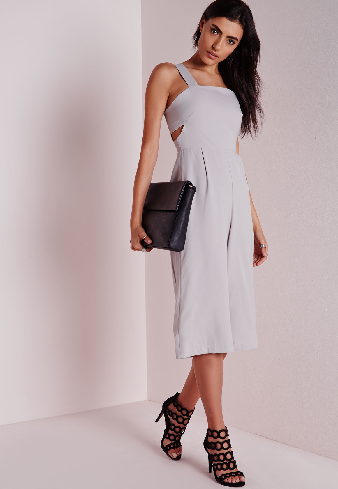fedc0b708c6f Lyst - Missguided Cut Out Culotte Jumpsuit Grey in Gray
