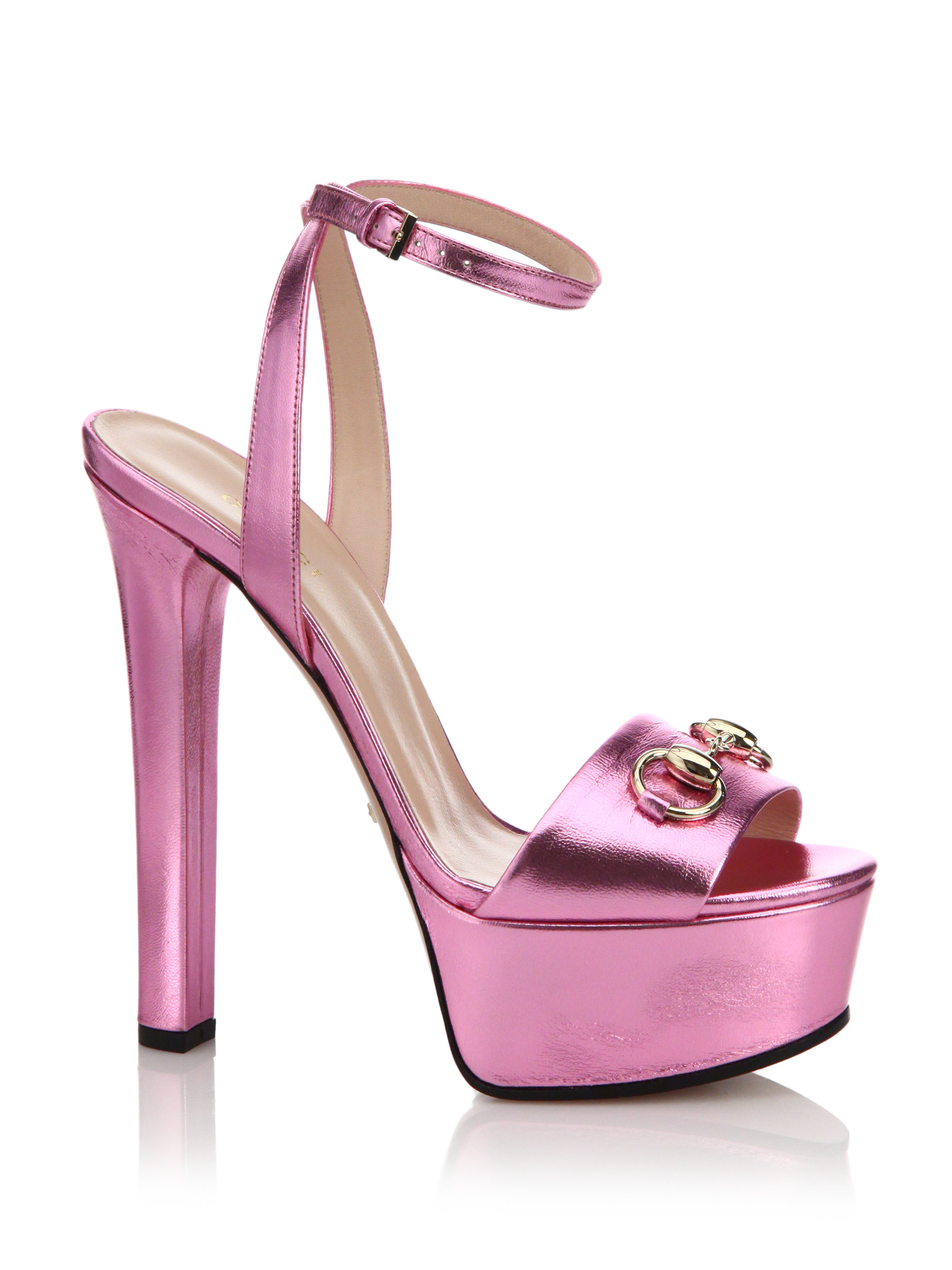 2984eef88bd Lyst - Gucci Leila Metallic Leather Platform Sandals in Pink