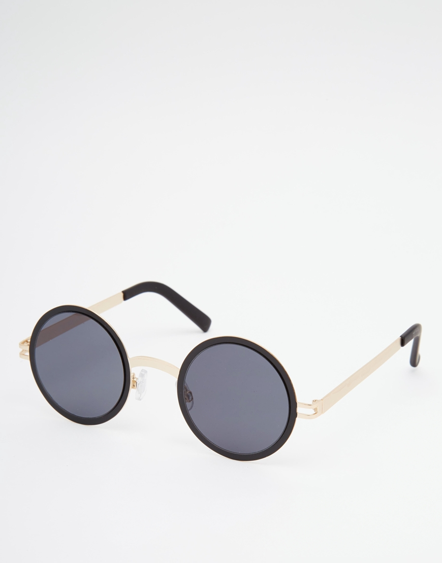 8255618ec1 Lyst - ASOS Round Metal Sunglasses With Flat Lens   Gold Metal Nose ...
