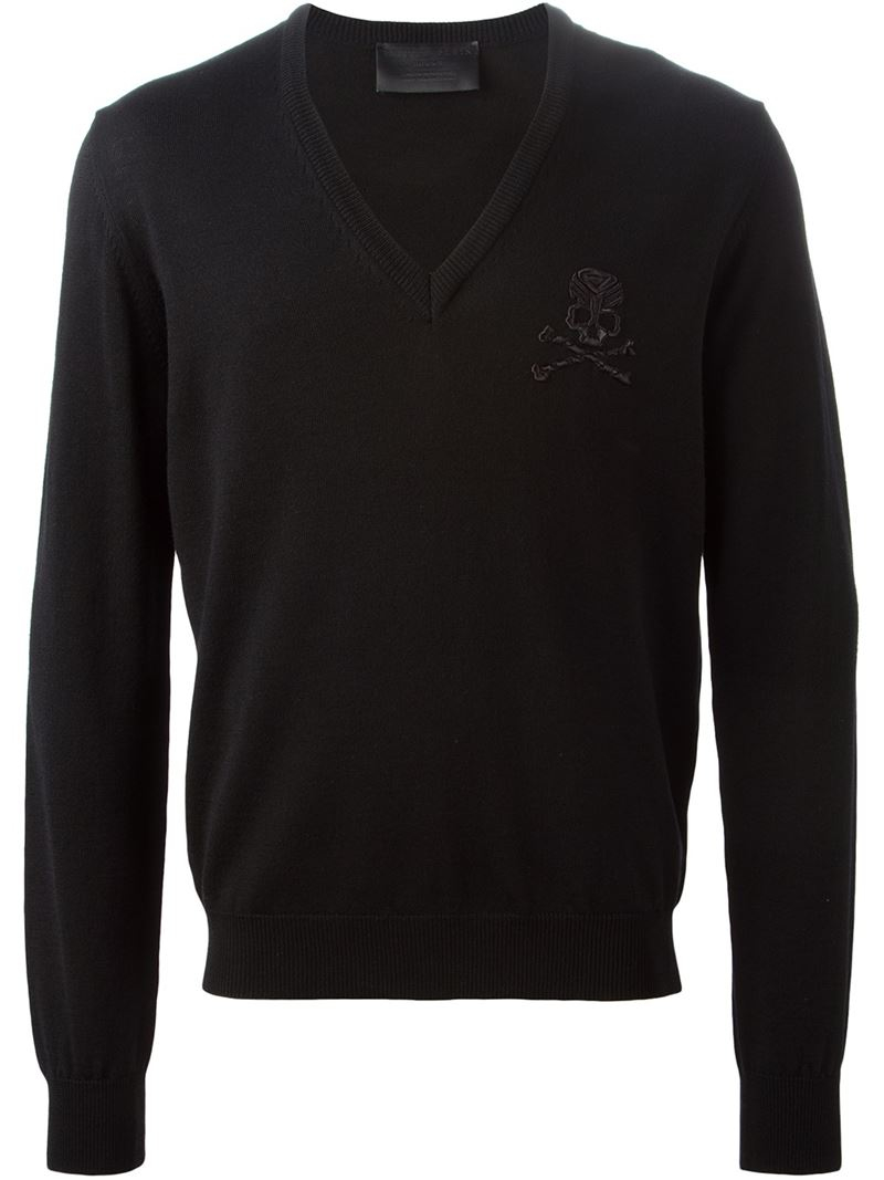 lyst philipp plein 39 missing 39 sweater in black for men. Black Bedroom Furniture Sets. Home Design Ideas