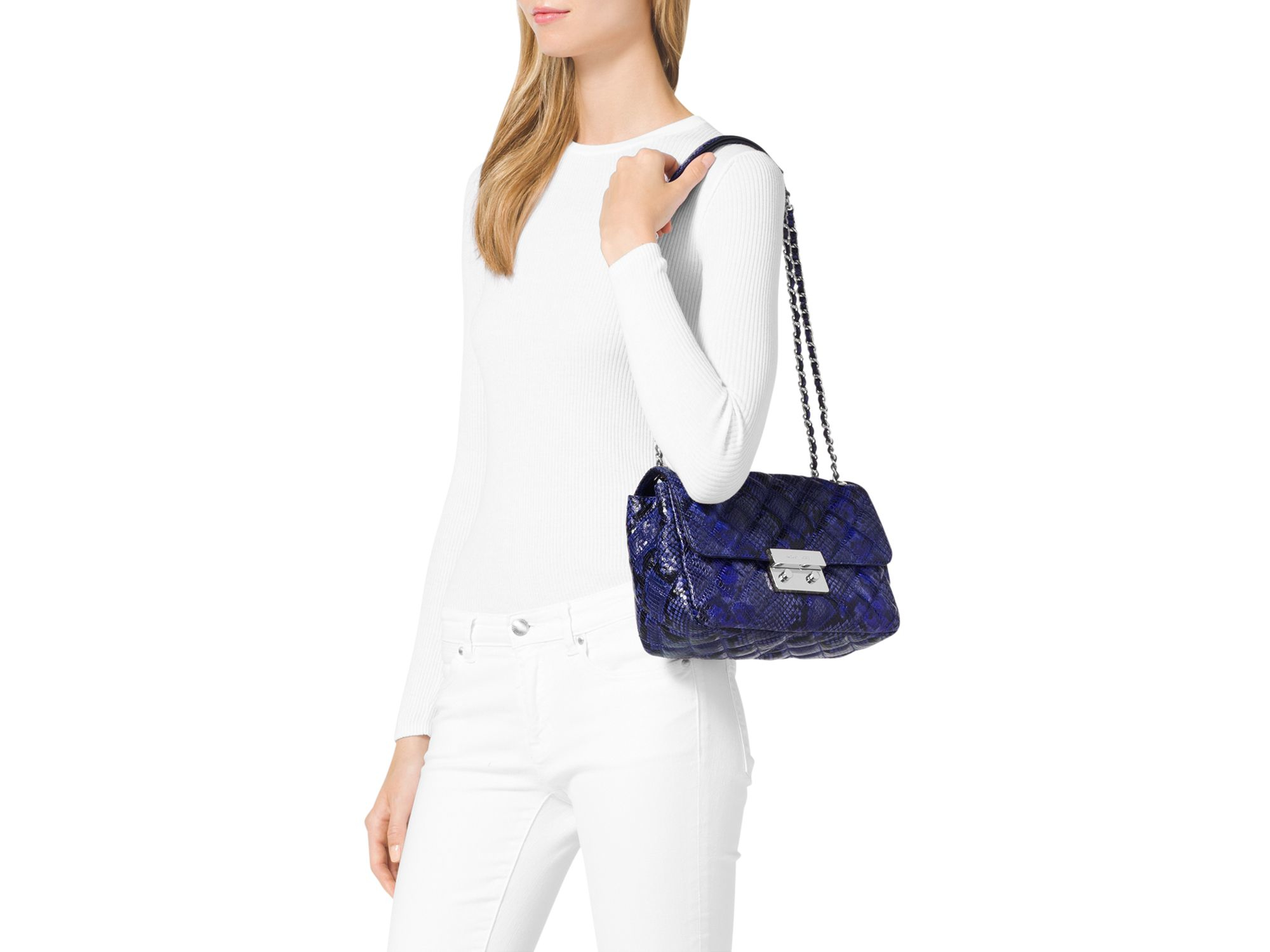 cb0196ba9022a4 MICHAEL Michael Kors Large Sloan Quilted Embossed Python Shoulder Bag in  Blue - Lyst