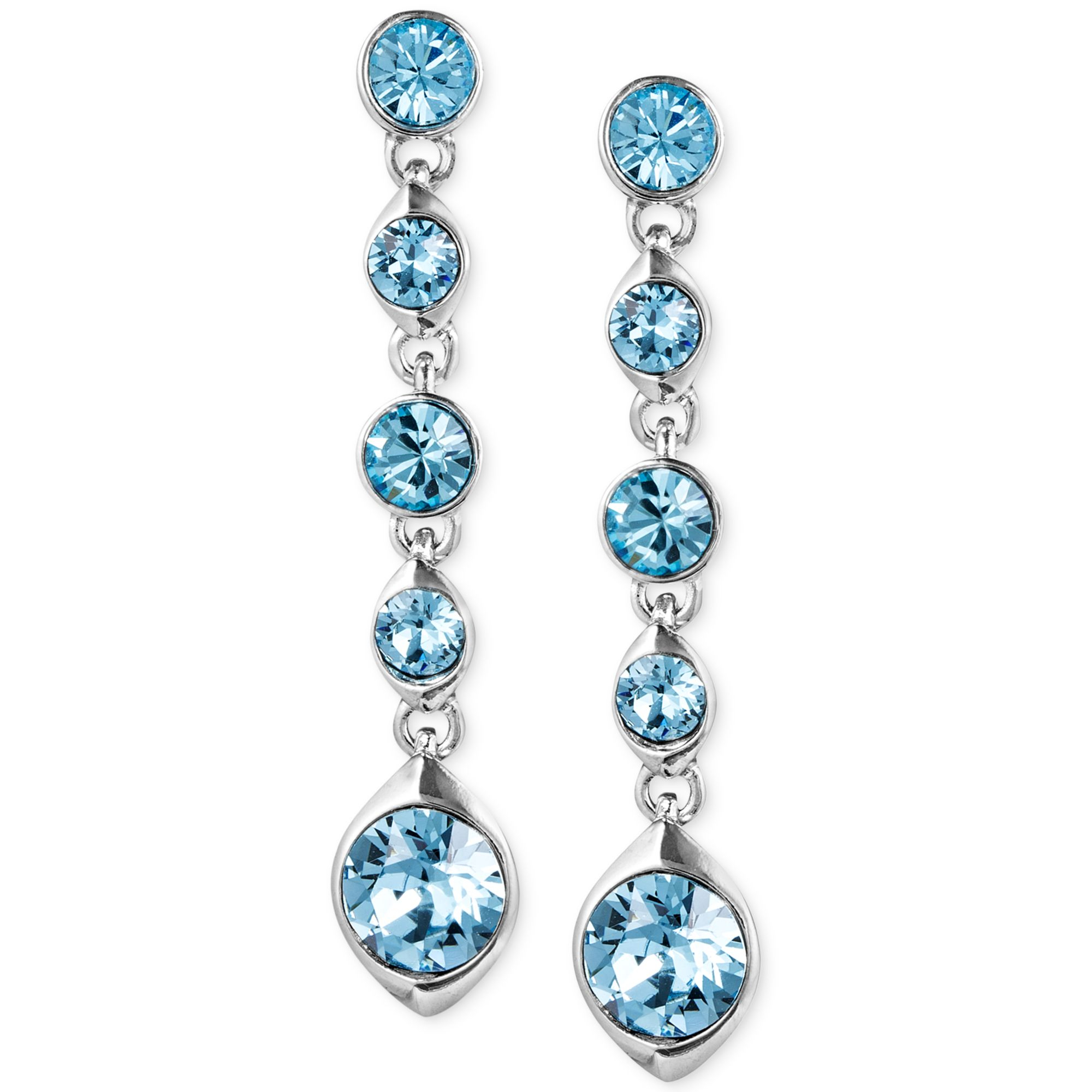 givenchy silver tone aqua linear earrings in blue