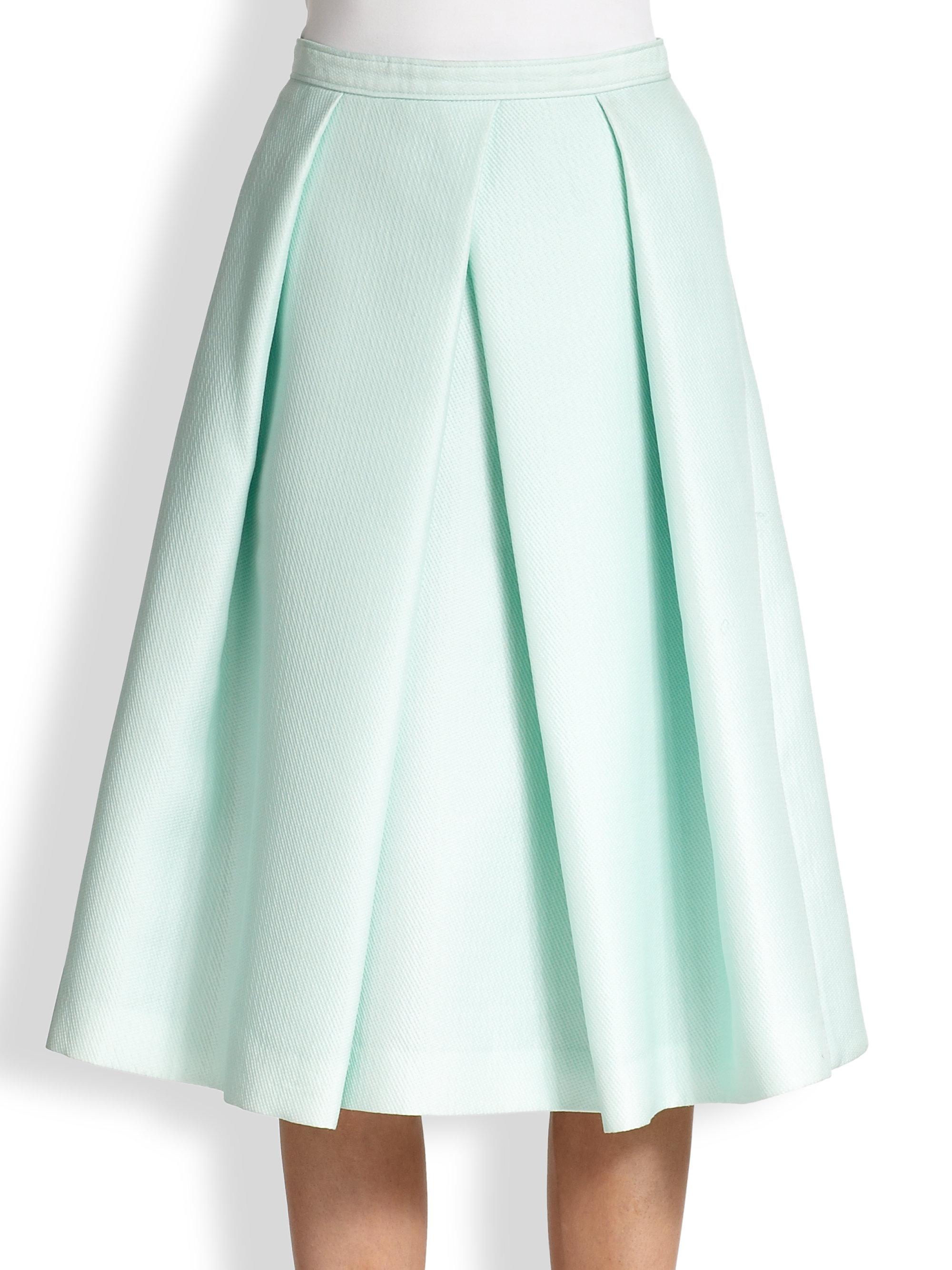 Tibi Asymmetrical Pleated Aline Skirt in Green | Lyst