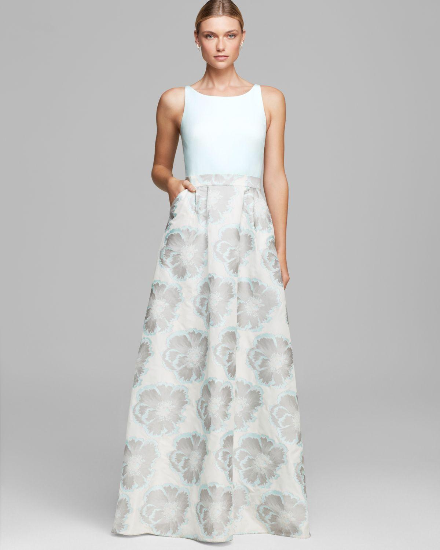 Lyst - Aidan Mattox Gown Sleeveless Printed Taffeta Skirt in Blue