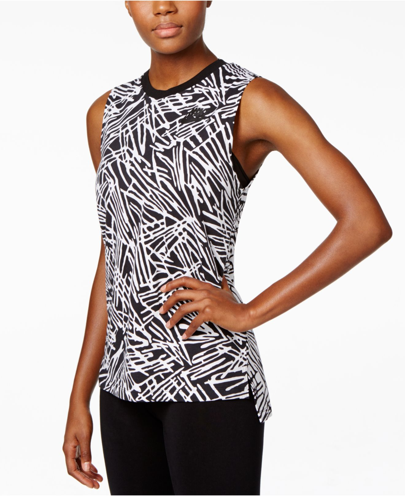 Nike Lyst In Top Muscle Palm Tank Black Print Signal zwqwd7Z