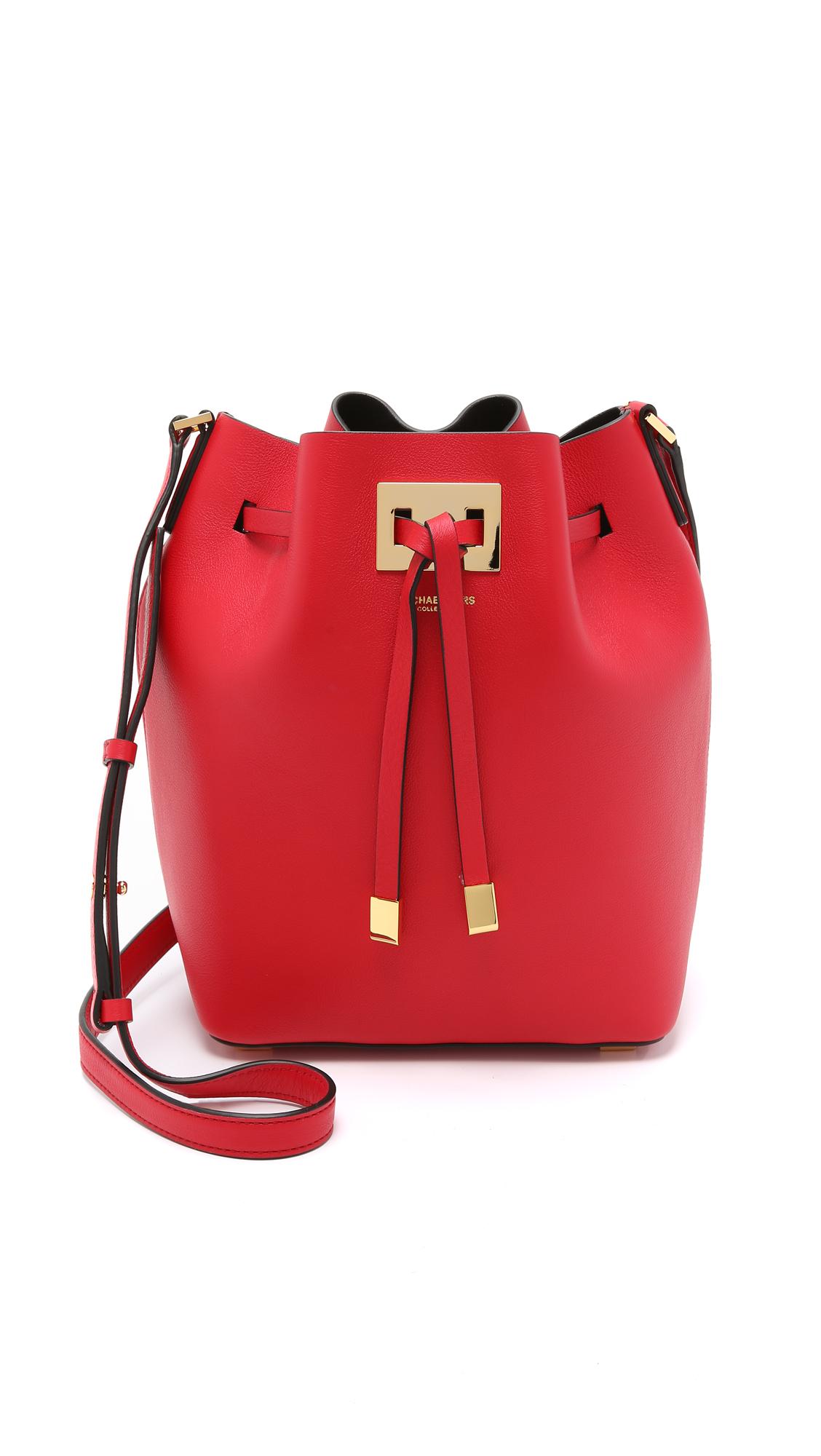 557dbbf50d169 czech lyst michael kors miranda medium drawstring bag crimson in red 45fb0  25811