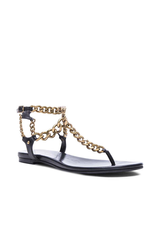 Embellished Leather Sandals - Black Balmain PLV0Z