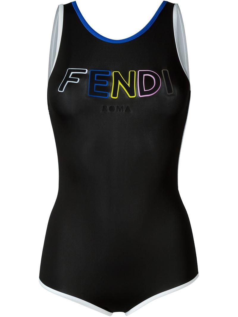 07c68befc2 Lyst - Fendi Logo Swimsuit in Black