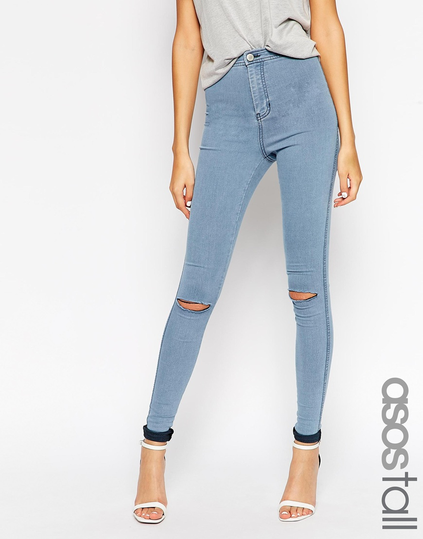 d3445c6c ASOS Rivington High Waist Denim Jeggings In Light Wash With Knee ...