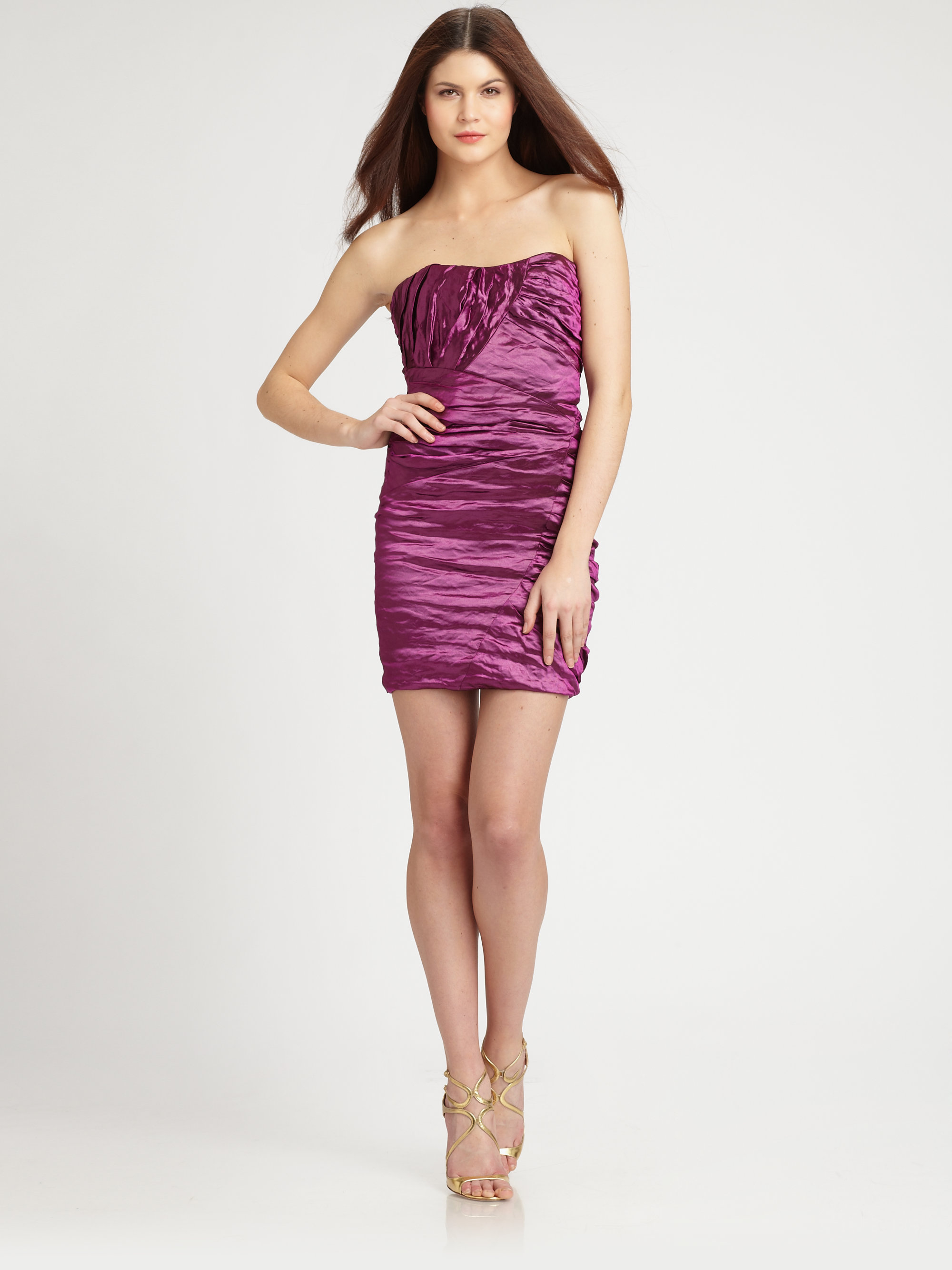 Nicole miller Strapless Mini Dress in Purple | Lyst