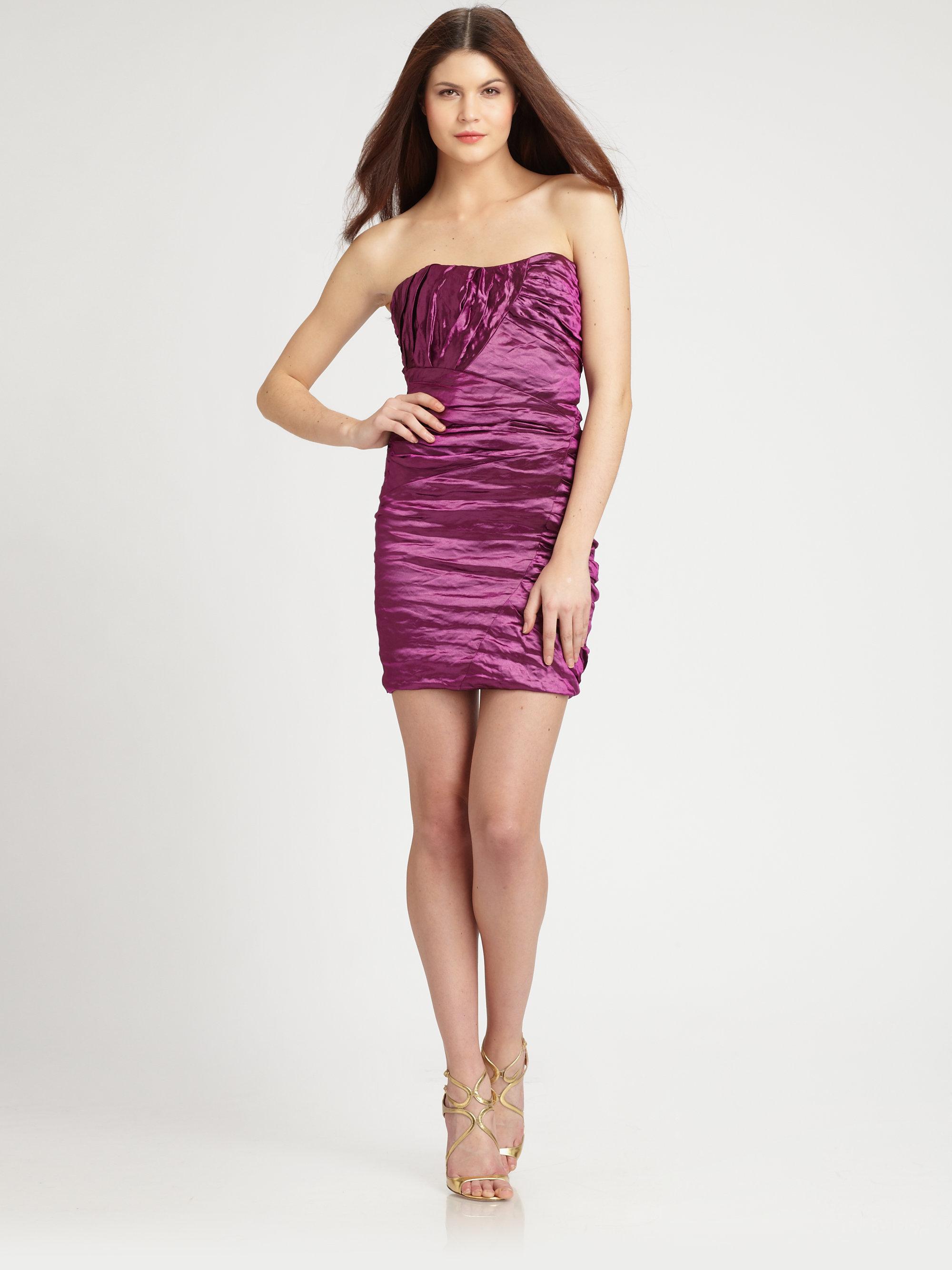 Nicole Miller Strapless Mini Dress in Purple (magenta)