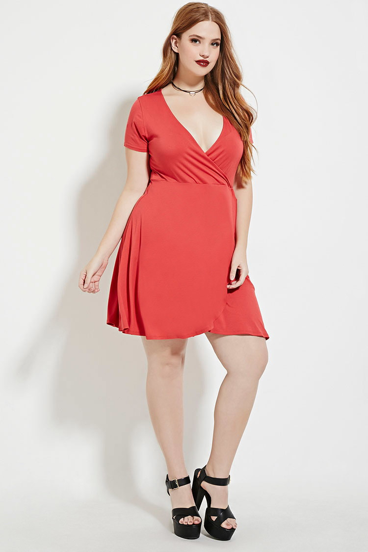 4bae08aa28b Forever 21 Plus Size Classic Wrap Dress in Pink - Lyst