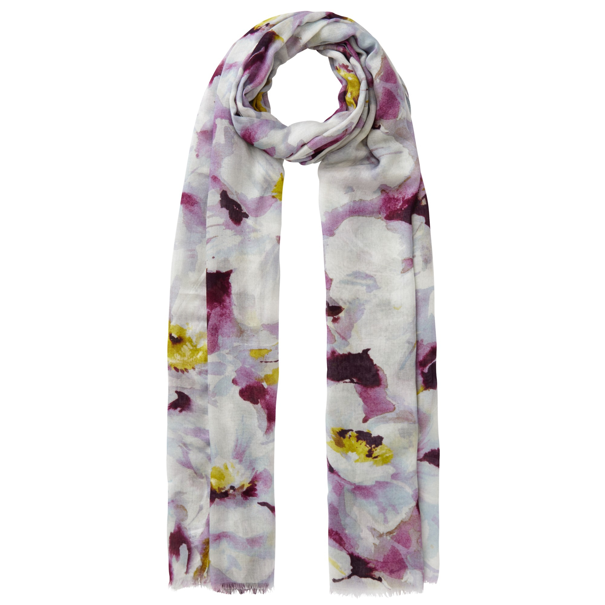 lewis large watercolour floral print scarf in purple