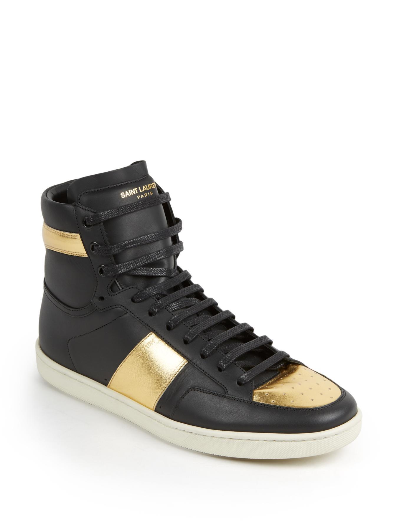 saint laurent metallic colorblocked leather high top sneakers in black for men lyst. Black Bedroom Furniture Sets. Home Design Ideas