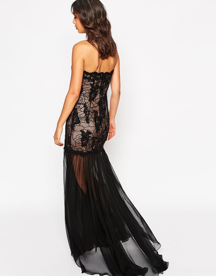 forever unique bandeau maxi dress with sheer skirt