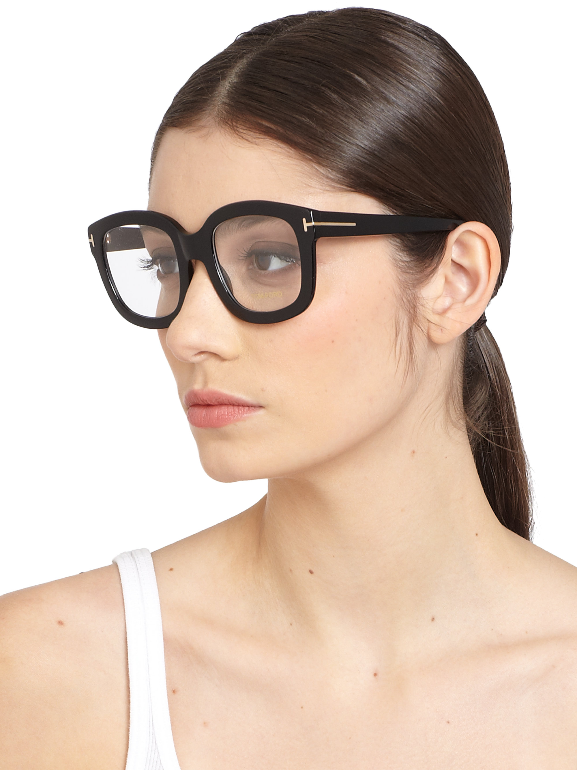 c694f6a657e Lyst - Tom Ford Oversized Acetate Eye Glasses in Black