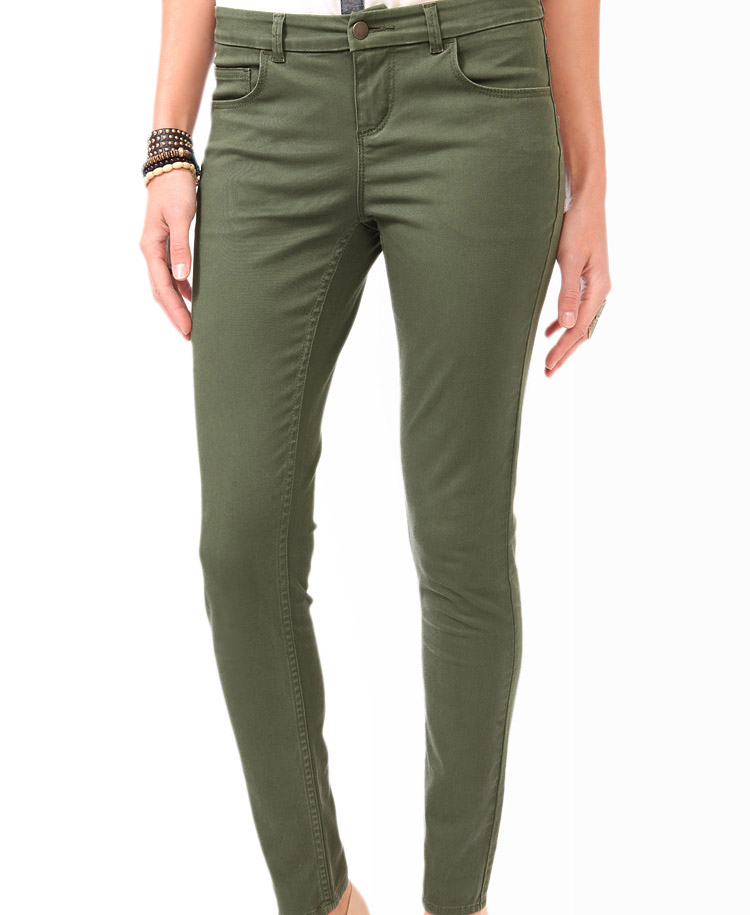Forever 21 Twill Skinny Pants in Green | Lyst