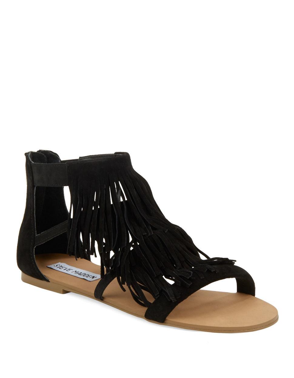 steve madden leather fringe sandal in black black suede