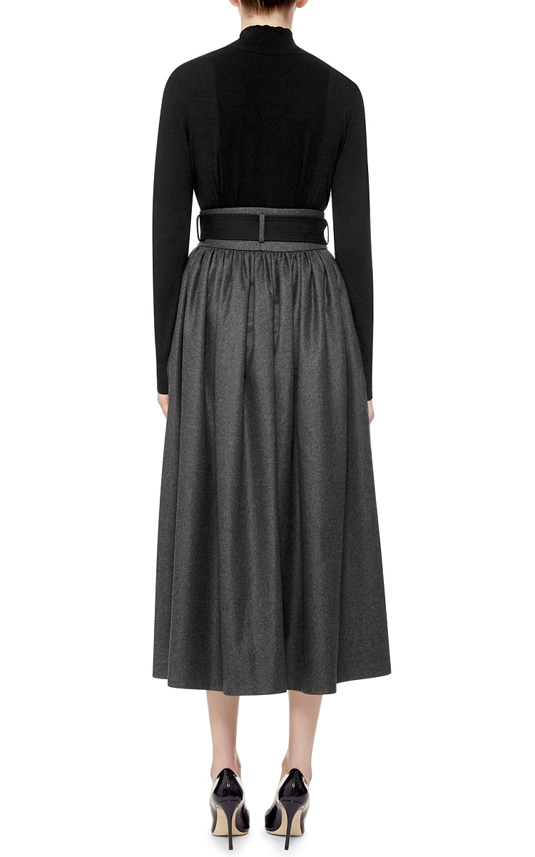 Martin grant Dark Wool High Waisted Skirt With Belt in Gray | Lyst