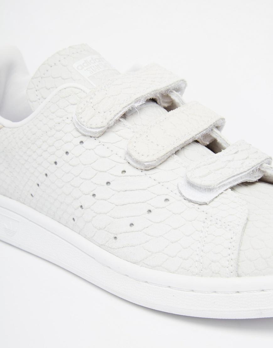 Lyst - adidas Originals Stan Smith Snake-Embossed Suede Low-Top ... 638c4708d7