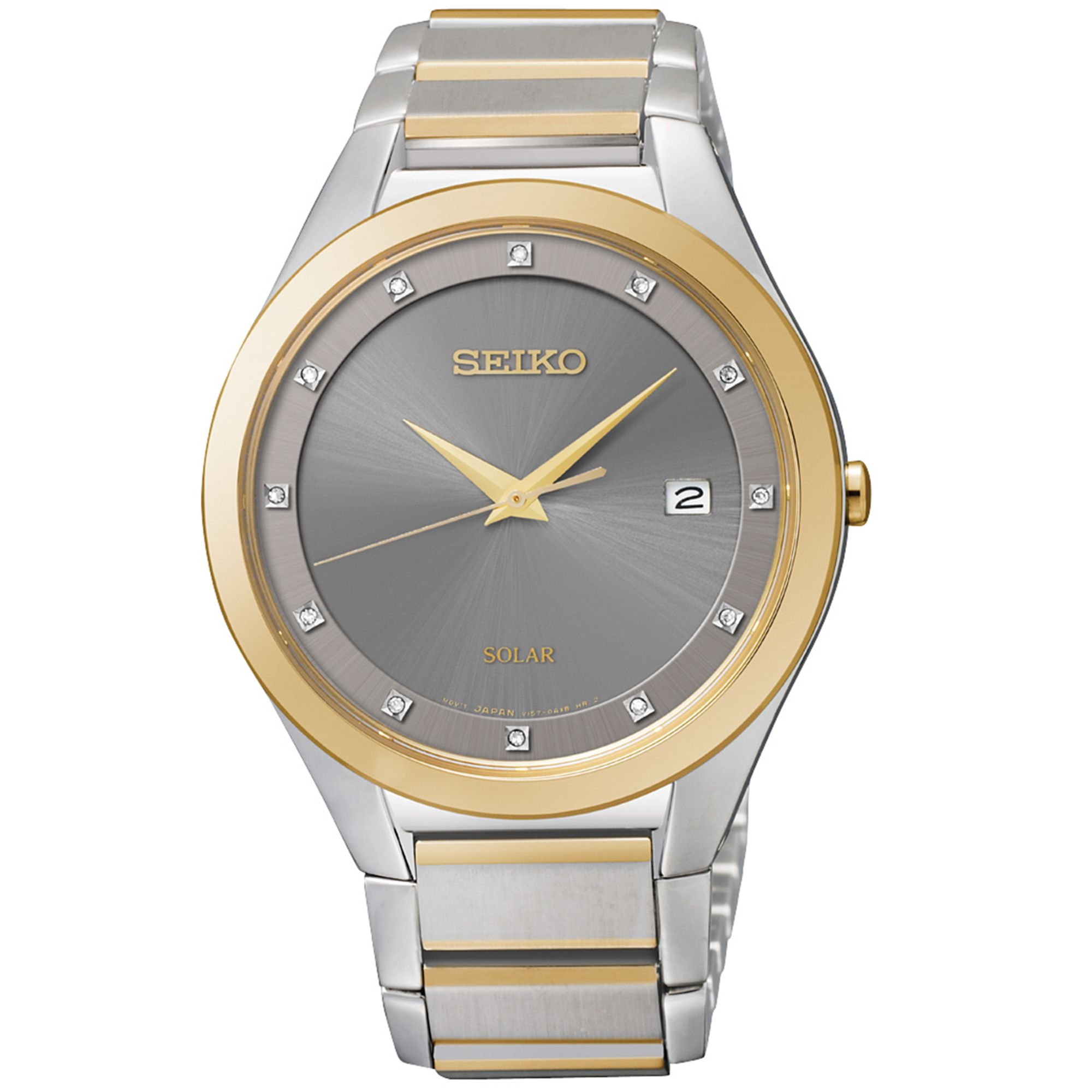 seiko s solar accent two tone stainless steel