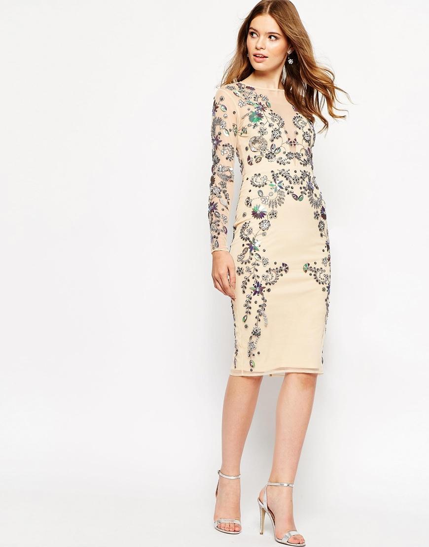 3ebe050cedecb ASOS Ergonomic 3d Floral Beaded Mesh Midi Dress - Lyst