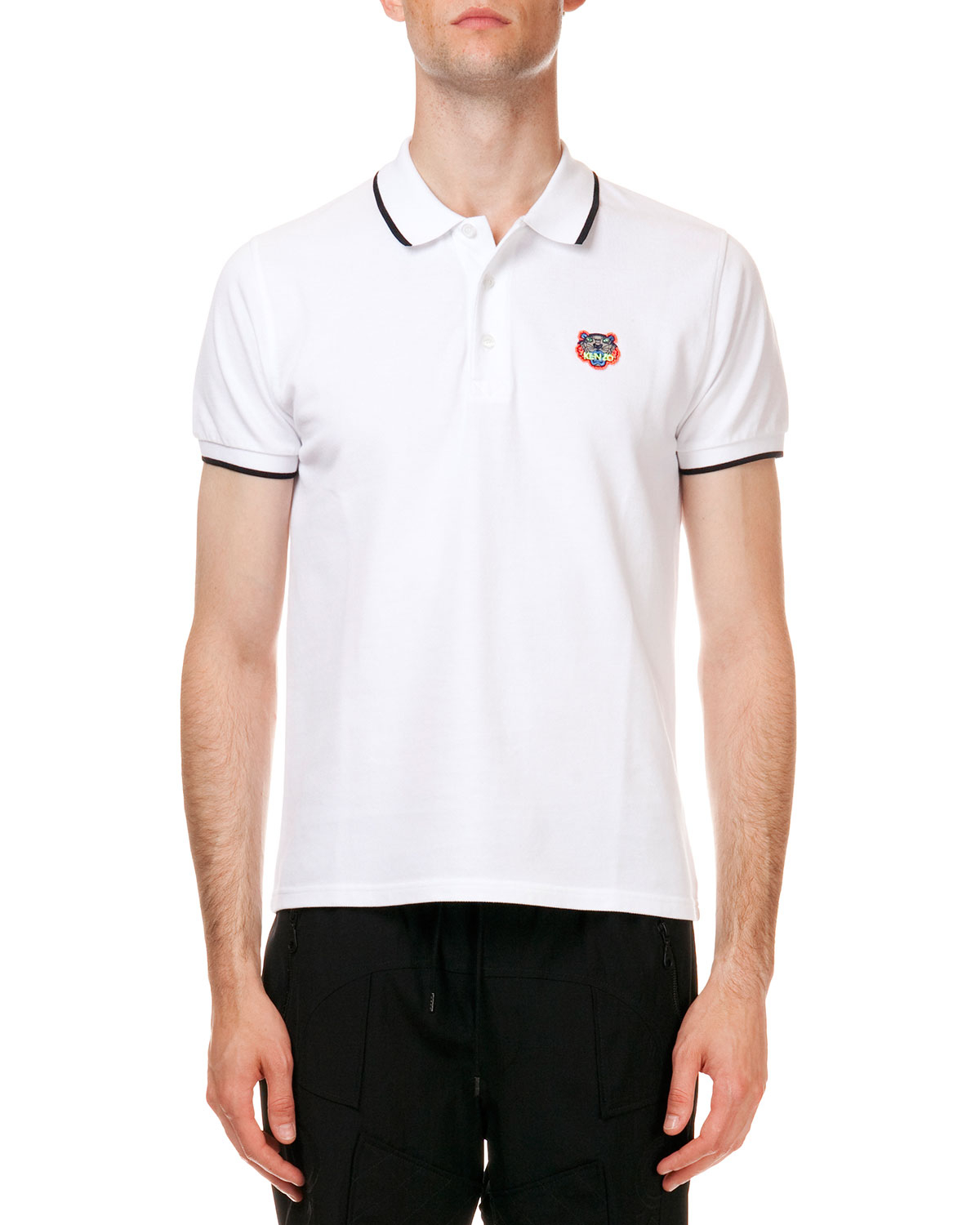 5476a073a1 KENZO Tipped Tiger Short Sleeve Pique Polo in White for Men - Lyst