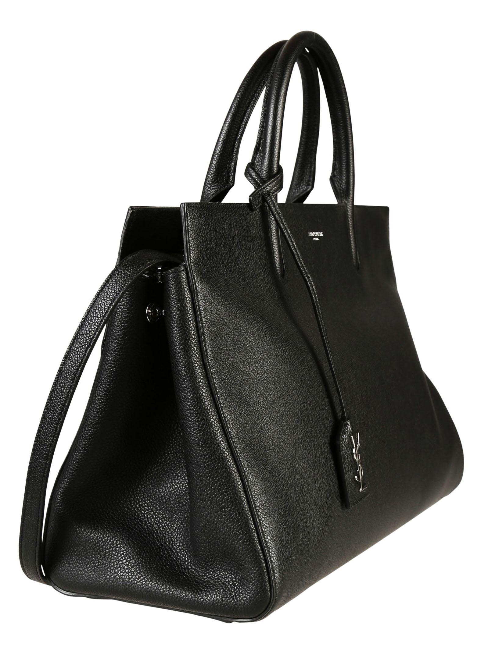 Saint laurent Medium Cabas Rive Gauche Bag In Black Grained ...