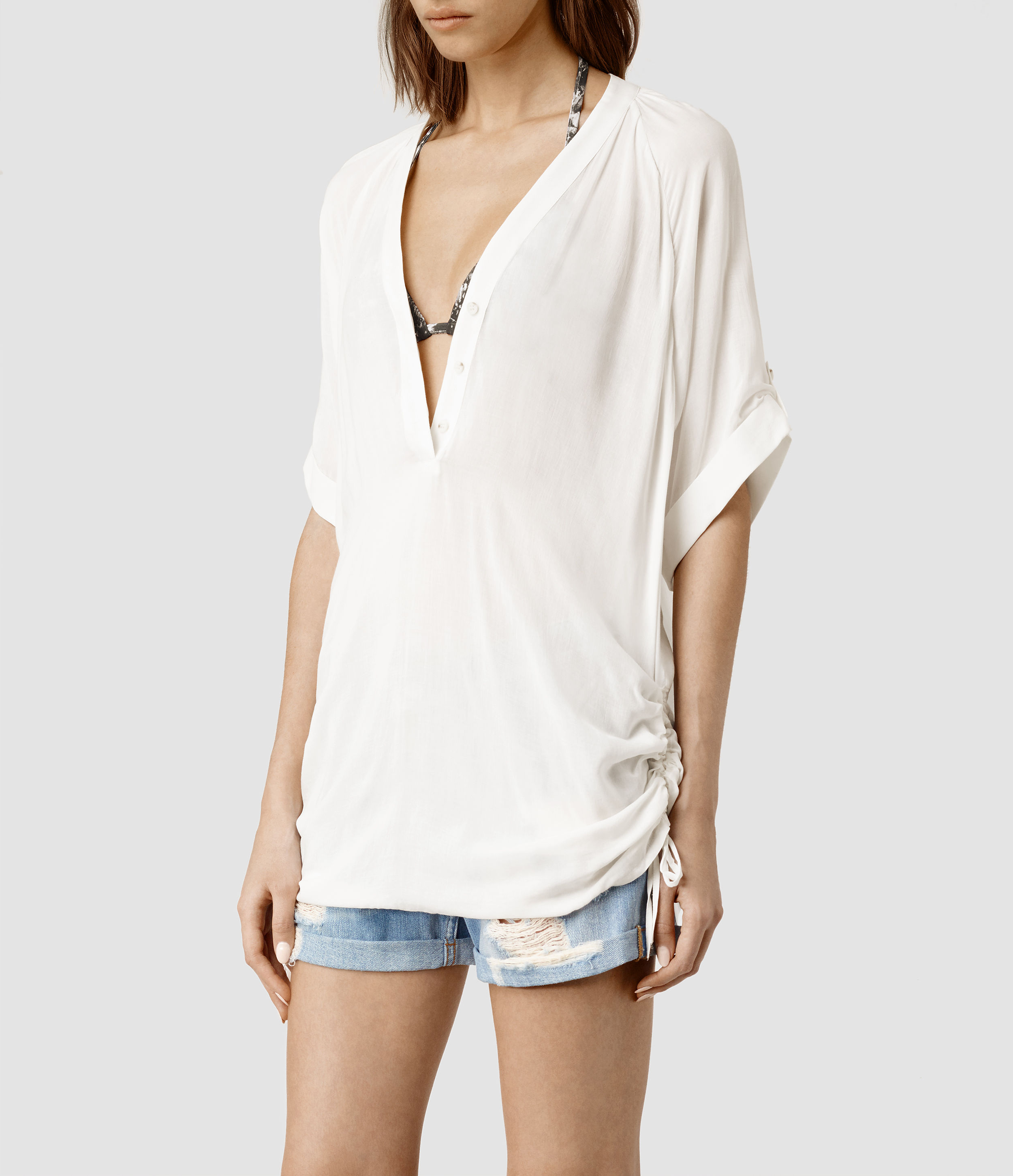ef7e75abe9 Lyst - AllSaints Isle Top in White