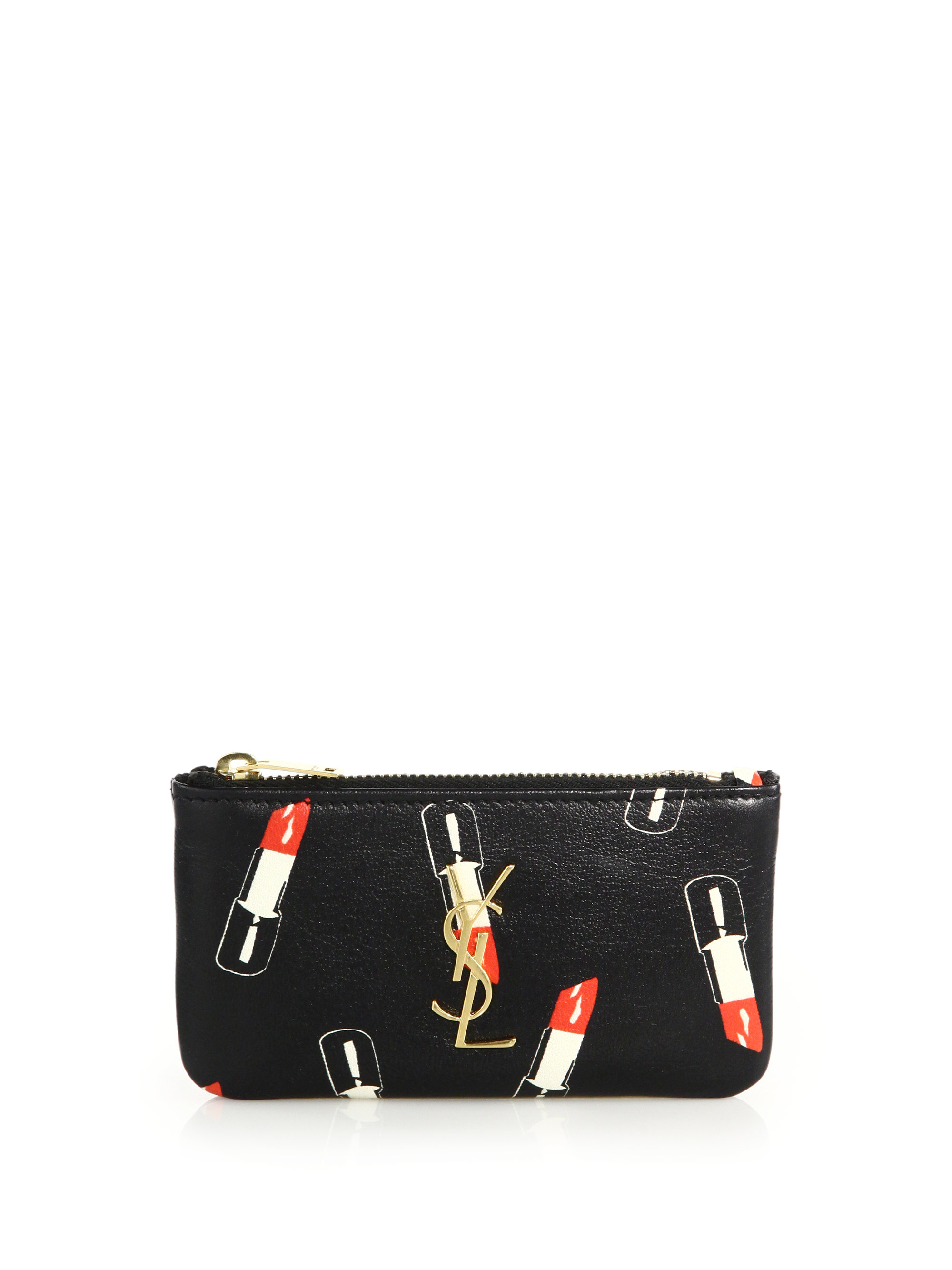 Monogram Saint Laurent Crossbody Phone Pouch In Lipstick Fuchsia Leather