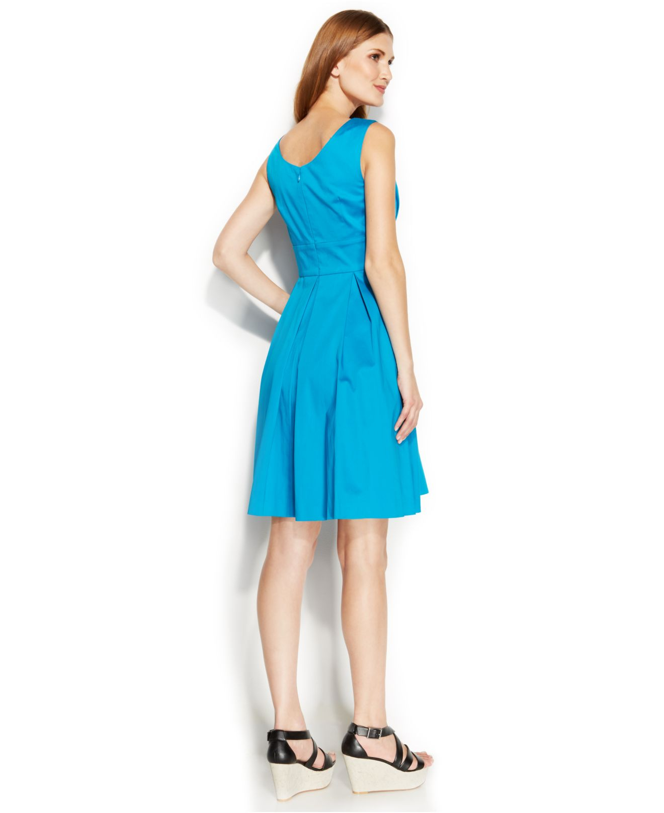 3ccaaae39c4f1a Lyst - Calvin Klein Sleeveless Pleated Scoop-Neck Dress in Blue