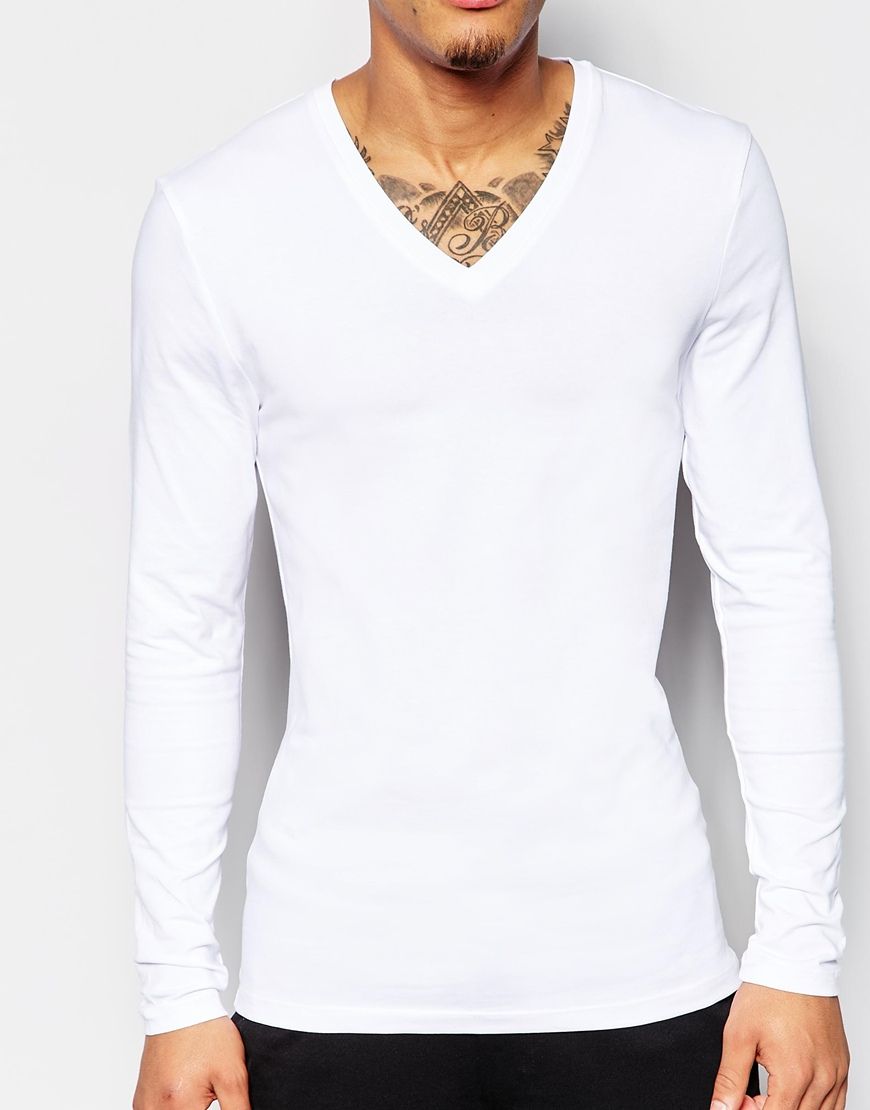 03fc420c3 ASOS Extreme Muscle Fit Long Sleeve T-shirt With V Neck And Stretch ...
