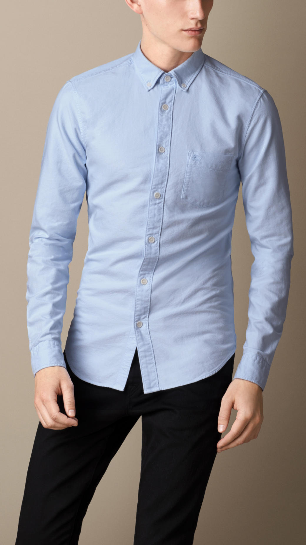 Lyst burberry cotton oxford shirt in blue for men for Mens blue oxford shirt