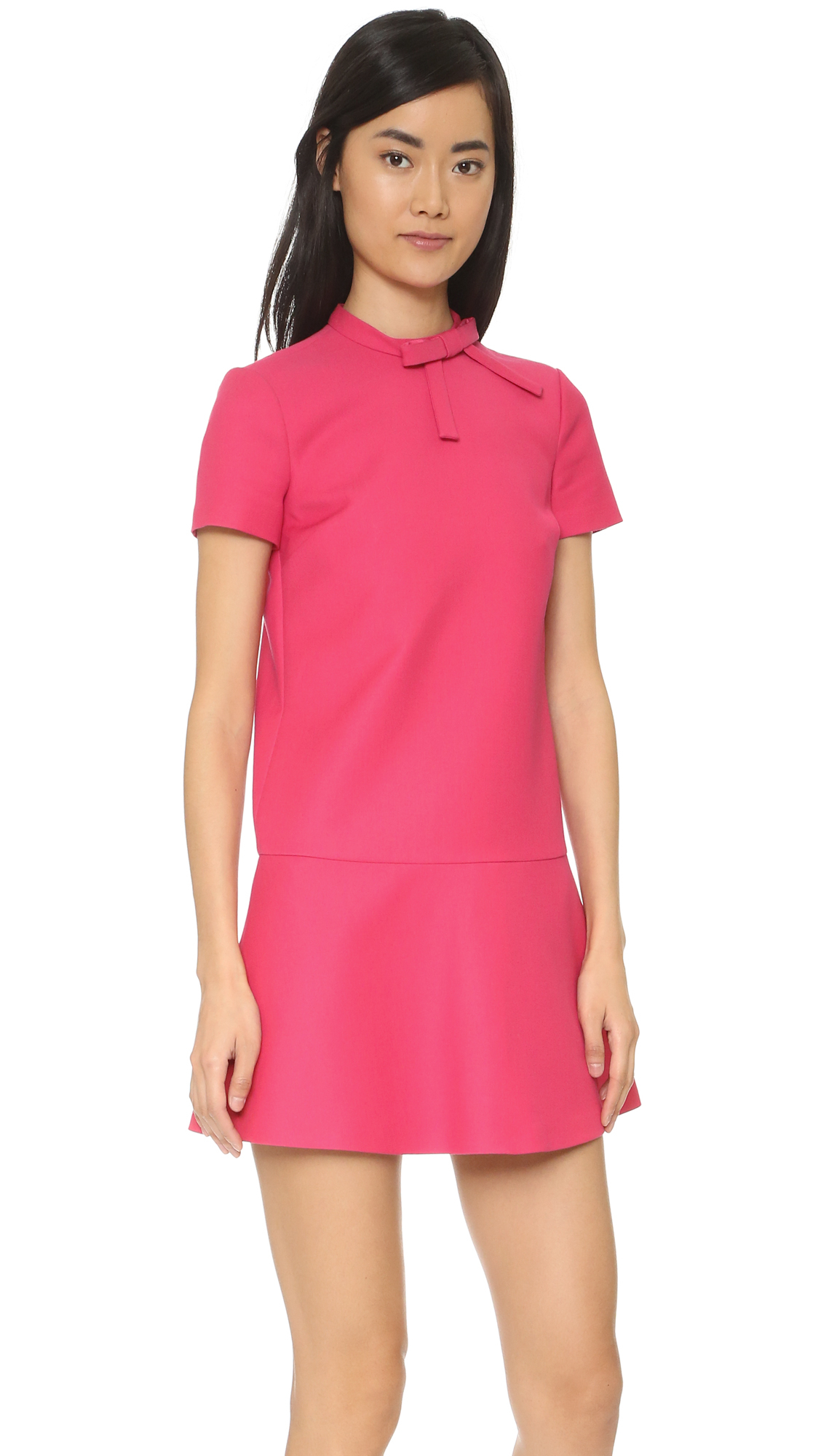 red valentino short sleeve bow dress in purple lyst