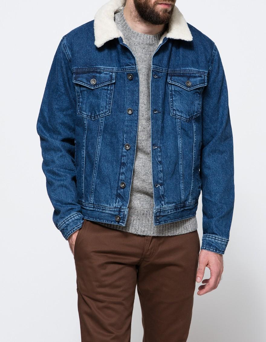 In Mid Wash Jacket Blue Men Lyst Topman For Borg Denim dPXg5dWF