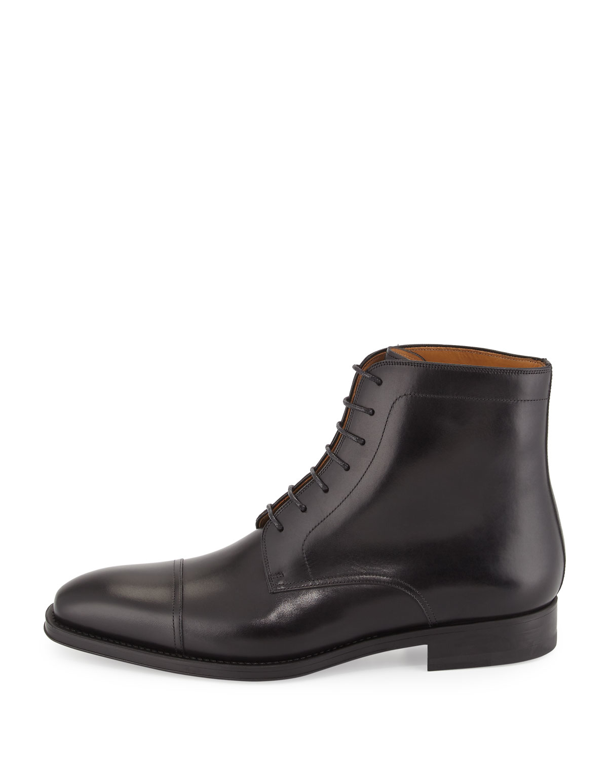 neiman leather cap toe ankle boot in black for
