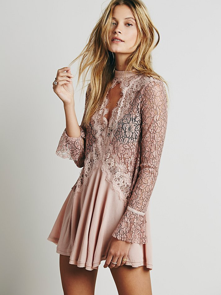 Free People Secret Origins Pieced Lace Tunic In Purple Lyst