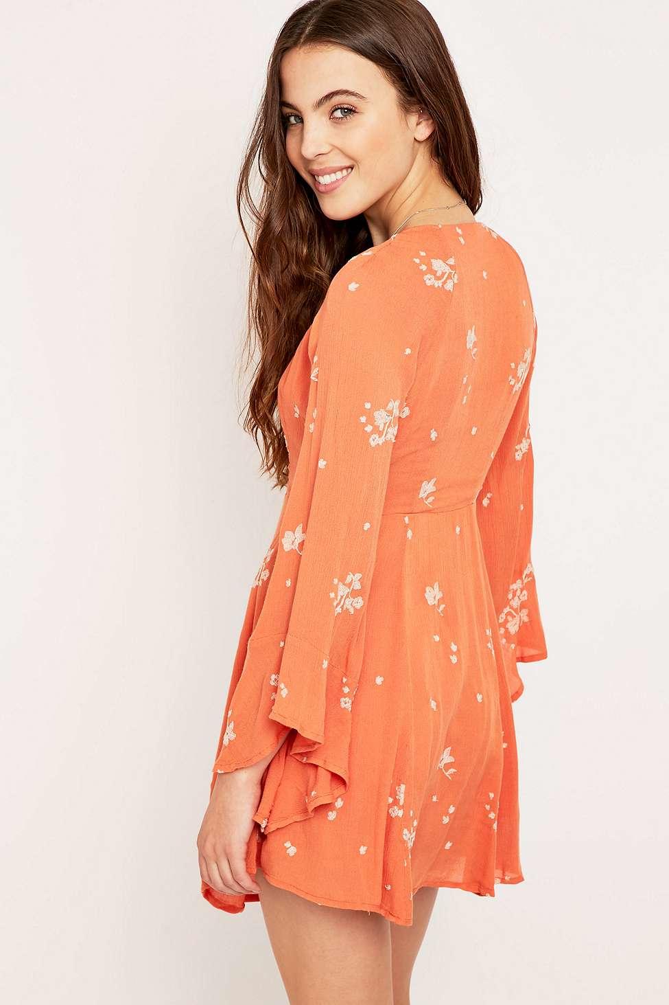 Free People Jasmine Embroidered Mini Dress In Orange