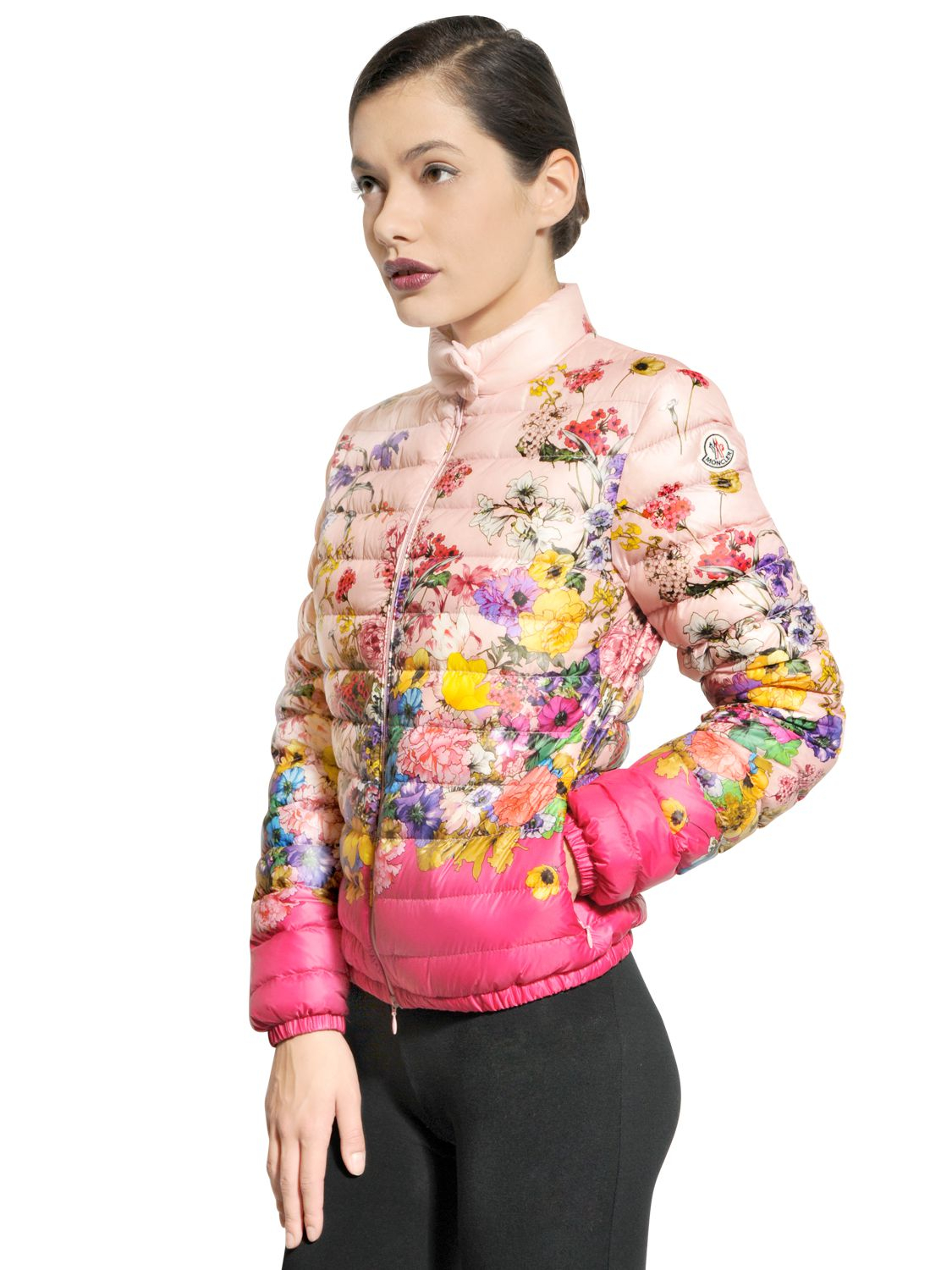 Moncler Alisia Nylon Floral Jacket in Pink | Lyst