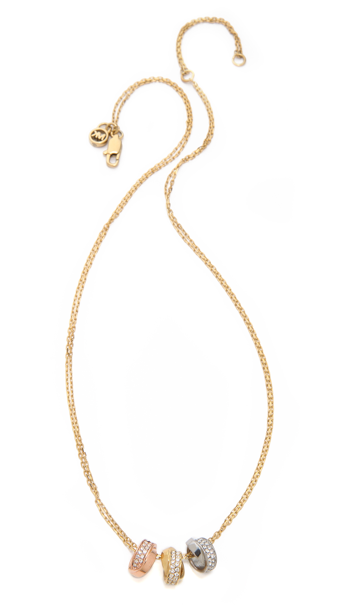 Lyst Michael Kors Pave 3 Ring Double Chain Necklace In